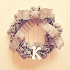 Black polka dot and tan burlap wreath with by LeCharmingKreations, $60.00