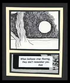 Untitled - Pen Drawing, Woodcut Print, Text: tree, moon, night, landscape, words, poetry, mixed media.