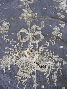 antique lace embroidery - Cream on Gray Needle Lace, Bobbin Lace, Lace Ribbon, Lace Fabric, Antique Lace, Vintage Lace, Victorian Lace, Shabby, Fru Fru