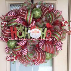 HoHoHo Santa Mesh Christmas Wreath by SouthernWreathDesign on Etsy, $95.00