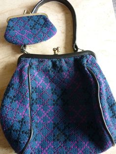 Vintage 1960s 1970s Welsh Tapestry Handbag & Purse USd@20.00
