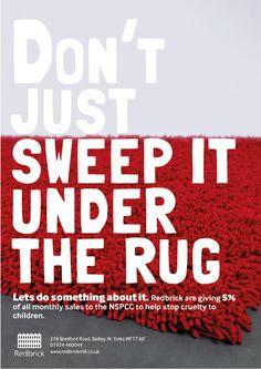 Redbrick - Rebecca Liggins, NSPCC, charity, rug, poster, campaign, red brick mills batley