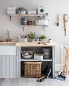 Everything needed for a perfectly organised utility room. Buckets, boxes, dustpans, brushes and rustic shelving. Click the image to view the complete collection Boot Room Utility, Small Utility Room, Utility Room Storage, Utility Room Designs, Utility Room Ideas, Utility Cupboard, Storage Jars, Storage Containers, Home Interior