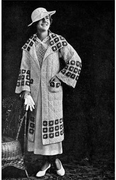 1930s Granny Square Sports Coat- PDF Crochet E-Pattern Download