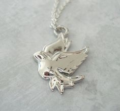 Silver Dove Charm Necklace  everyday jewelry  by lucindascharms, $12.00
