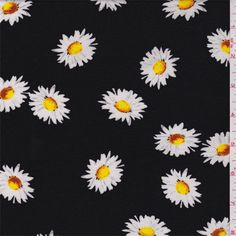 Black background with a white, yellow and cinnamon brown tossed daisyprint. This light/medium weight polyester knit fabric has a soft, slightly brushed feel. Ample widthwise stretch.Compare to $10.00/yd