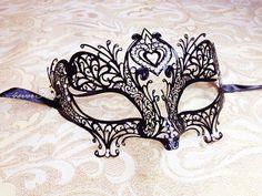 Diamond Heart Laser Cut Masquerade Mask - Black Mask For Masquerade Ball, Wedding, Bachelorette Party, Halloween Costume