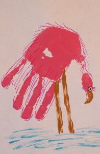 Flamingo out of a hand print... how flipping brilliant!!!