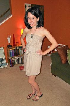 No-sew project that turns a t shirt into a dress.