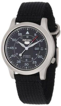 "Seiko Men's SNK809 ""Seiko 5"" Automatic Watch with Black Canvas Strap: Watches: Amazon.com"
