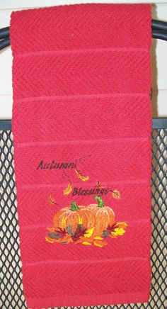 Autumn Blessings Kitchen Towel Fall Towel by GailForceCrafts