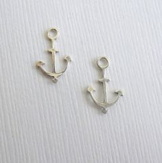 Sterling Silver Anchor Charms  2 Pieces  Mini by HappyBirdSupplies, $2.45
