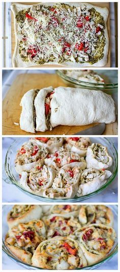 Turkey Pesto Roll Ups ---- 1 can Pillsbury® refrigerated classic pizza crust cup basil pesto cup chopped roasted red peppers (from a jar) 2 cups diced leftover cooked turkey 1 cup shredded mozzarella cheese oz) teaspoon Italian seasoning Think Food, I Love Food, Food For Thought, Good Food, Yummy Food, Yummy Lunch, Leftover Turkey Recipes, Leftovers Recipes, Turkey Leftovers