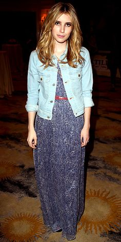 Emma Roberts in an Isabel Lu maxi dress with a Textile jacket at the Textile Elizabeth and James event