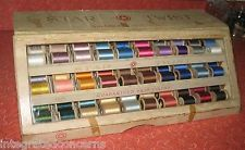 Vintage Lacquer Ware Box Grandma\u2019s thread box - comes with wooden thread spools if you want them!