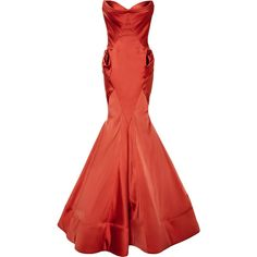Zac Posen Stretch Duchess Gown ($8,990) ❤ liked on Polyvore featuring dresses, gowns, long dresses, red sweetheart gown, strapless gown, red dress, long red dress and silk dress