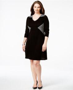 Plus Size Colorblock V-Neck Sweater Dress