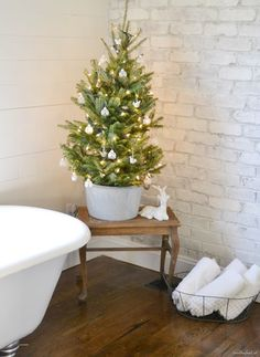 Beneath My Heart's Christmas Tour | A Tabletop Tree in The Bathroom | Life's Little Luxuries