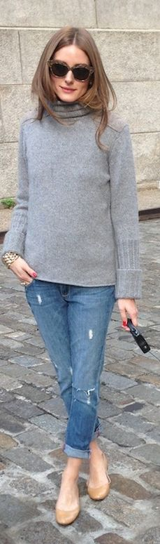 Olivia Palermo brown sunglasses, blue jeans, gray turtleneck sweater, and nude ballet flat shoes