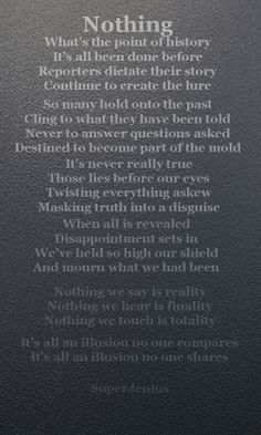 Nothing - song lyric from the book Saying Goodbye