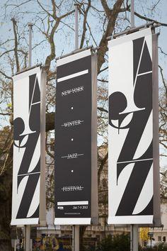 New York Winter Jazz Festival - Posters & Promotion by Luke Syrylo, via Behance Wayfinding Signage, Signage Design, Banner Design, Typography Design, Flyer Design, Jazz Festival, Festival Posters, Environmental Graphics, Environmental Design