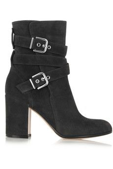 Gianvito Rossi Buckled suede ankle boots | NET-A-PORTER