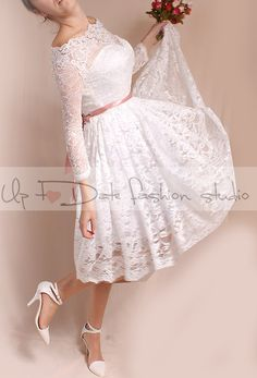 Plus Size Short wedding lace dresses / by UpToDateFashion on Etsy