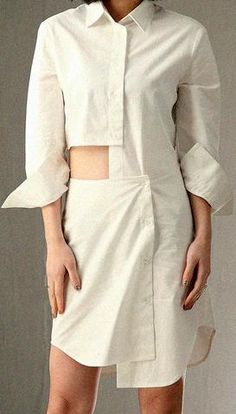 Cut-Out White Shirt Dress