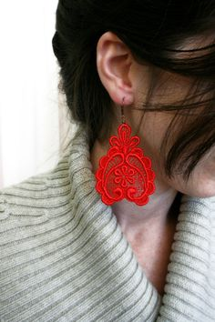 lace earrings DARLA red by tinaevarenee on Etsy, $22.00