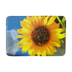 Shop Sunflower Bath Mat created by MarblesPictures. Sunflower Bathroom, Sunflower Baby Showers, Bathroom Rugs And Mats, Bath Rugs, Personalized Gifts For Men, Customized Gifts, Custom Gifts, Marble Pictures, Mandala Throw