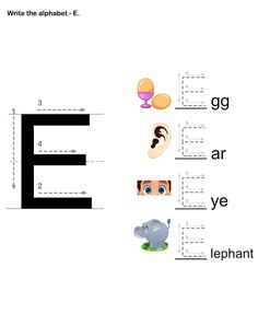 esl-efl Worksheets - preschool Worksheets - Letter Writing E Alphabet Writing Worksheets, Printable Preschool Worksheets, Preschool Curriculum, Preschool Themes, Letter Writing, Kids Worksheets, Free Printable, Online Games For Kids, Learning Games For Kids