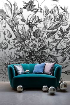 'Bouquet in a Vase' Mural - New York Botanical Garden Collection from £60 per sq/m | Shop Cushions & Wall Murals at surfaceview.co.uk