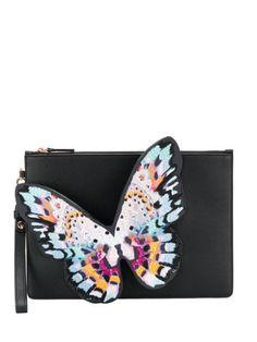 Sophia Webster Buterfly Application Clutch Bag In Black Clutches For Women, Designer Clutch, Sophia Webster, Brand You, World Of Fashion, Calf Leather, Luxury Branding, Clutch Bag, Fendi
