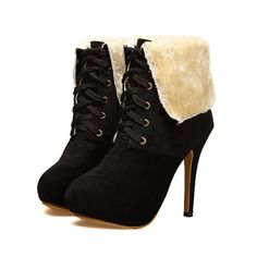 Lace-up Fur Ankle Boots High Heels