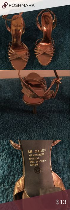 """Gold strappy sandals Gold strappy sandals, by Worthington, size 8, approx 4"""", worn 1 or 2x, great condition Worthington Shoes Heels"""