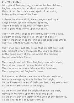 Laurence Binyon (1869-1943) England #poetry http://annabelchaffer.com/ Always brings tears to my eyes.