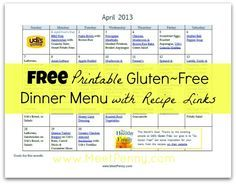 Gluten Free Dinner Menu planner with recipe links