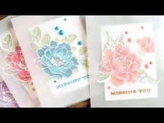 these Jennifer McGuire handmade cards. She used parchment, Altenew beautiful day stamp and Altenew Peony Bouquet stamps. Card Making Tips, Card Making Tutorials, Card Making Techniques, Altenew Cards, Stampin Up Cards, Jennifer Mcguire Ink, Flower Cards, Homemade Cards, Cardmaking