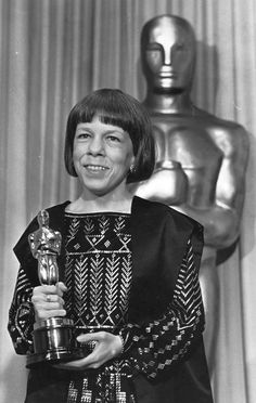 Linda Hunt and her Best Supporting Actress Oscar, for her work in The Year of Living Dangerously, at The 56th Academy Awards, April 9, 1984.