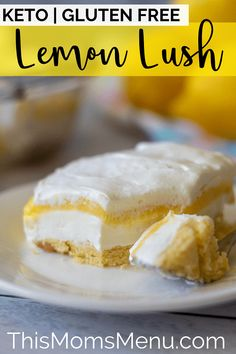 This Lemon Lush is the ultimate keto lemon dessert. It's deliciously light and refreshing and is perfect for spring and summer gatherings. #thismomsmenu #ketodessert #ketolemondessert #lemonlush