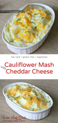 cauliflower mash with cheddar cheese, low carb alternative to mashed potatoes. Click thru for easy recipe. #lowcarb #cauliflower #glutenfree