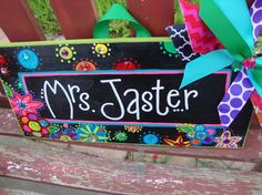 Creative, Personalized Valentine's Gift!  Teacher Name Sign by SunshineSignDesigns on Etsy, $40.00