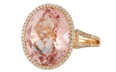 Very popular this season. 18k rose gold morganite and diamond ring. This morganite is over three carats.