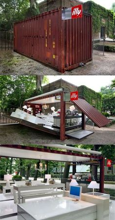 shipping container coffee shop clever design idea +++ Cafeteria al aire libre… Container Home Designs, Café Container, Container Coffee Shop, Container Architecture, Architecture Design, Seattle Architecture, Computer Architecture, Building A Container Home, Container House Plans