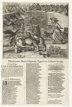 Anonymous   Allegorie op de Noordse Oorlog, ca. 1658, Anonymous, 1658 - 1659   Allegorie op de Noordse Oorlog, ca. 1658. In een arena een gevecht tussen een leeuw (Nederland), beer (Zweden), olifant (Denemarken), een tijger en drie adelaars (Polen, Pruisen en het Duitse Rijk). Het gevecht wordt aangestuurd door Cromwell met zijn honden. De Europese vorsten kijken als publiek toe, in het midden de evangelische maagd en de evangelische prediker. Rechtsonder een inzet met een gevecht tussen…