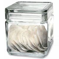 Utopia Square Biscotti Jar 1.2ltr | Food Storage Jar, Glass Jar, Tea Bag Jar