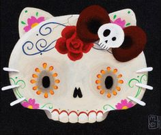 Sanrio Three Apples Art: Hello Kitty Sugar Skull by Misha Candy Skulls, Sugar Skulls, Just In Case, Just For You, Apple Art, Day Of The Dead Skull, Hello Kitty Birthday, Kawaii, Favim