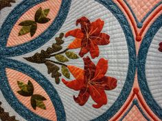 "Audra Rasnake's quilt ""Consider the Lilies"" - detail"