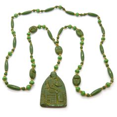 Vintage Art Deco Neiger Brothers Green Egyptian Scarab Glass Bead Necklace | Clarice Jewellery | Vintage Costume Jewellery