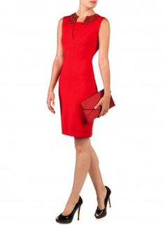 Starry Red Edella Embellished Collar Dress,  Dress, sexy chic dress lady, Chic